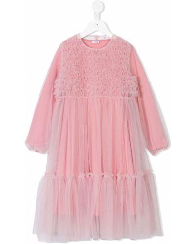 С рукавами розовое платье макси с вырезом Il Gufo
