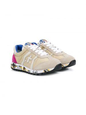 Синие кроссовки на шнурках круглые с заплатками Premiata Kids
