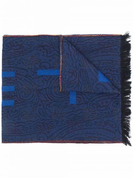 Szalik wełniany - niebieski Etro