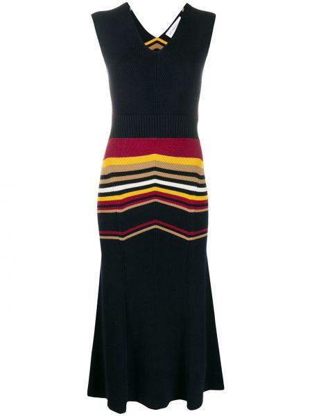 Niebieska sukienka midi w paski z wiskozy Victoria Beckham