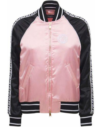 Розовая нейлоновая куртка Versace
