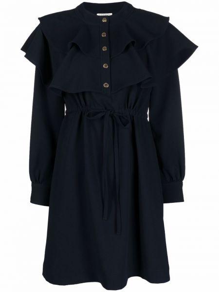 Niebieska sukienka z długimi rękawami Sandro Paris
