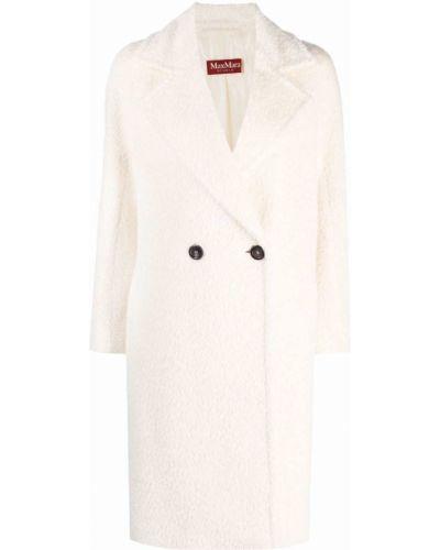 Biały klasyczny płaszcz S Max Mara