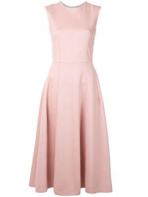 Расклешенное приталенное розовое платье без рукавов Adam Lippes