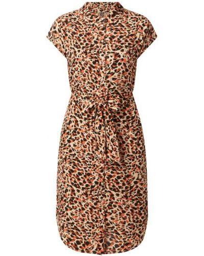 Beżowa sukienka koszulowa rozkloszowana z wiskozy Pieces