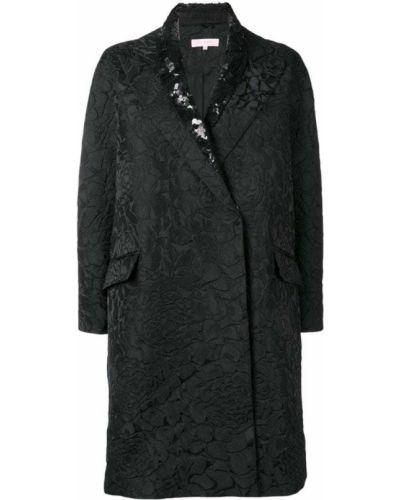 Черное пальто классическое с капюшоном с воротником Dice Kayek