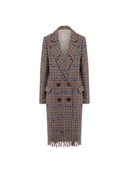 Фиолетовое шерстяное пальто с бахромой с лацканами Tela