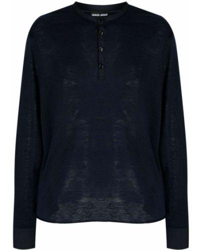 Niebieski top z długimi rękawami bawełniany Giorgio Armani