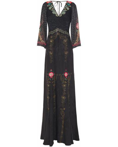Шифоновое черное платье макси с открытой спиной Etro