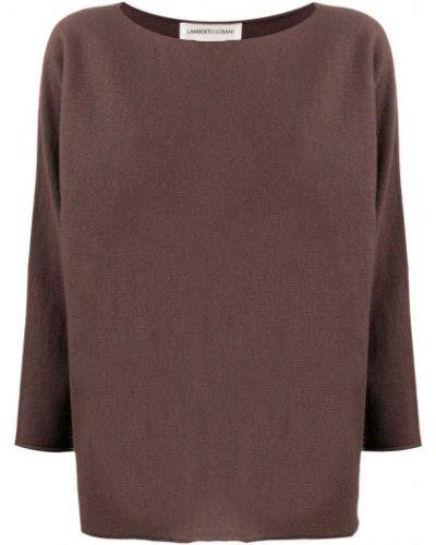 Тонкий с рукавами кашемировый коричневый вязаный джемпер Lamberto Losani