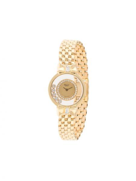 Золотистые кварцевые часы золотые с бриллиантом Chopard Pre-owned