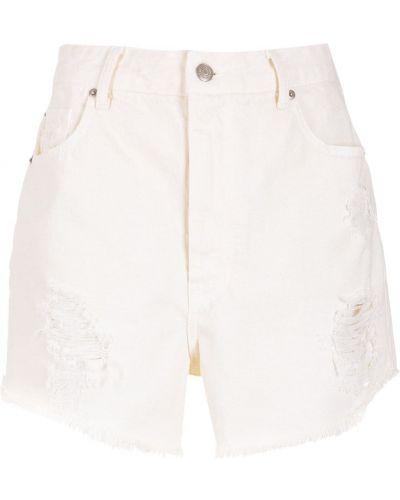 Белые джинсовые шорты с завышенной талией Nk