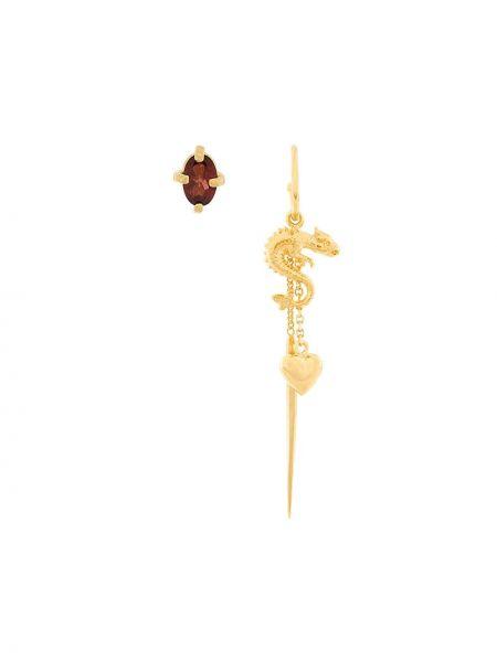 Желтые серебряные серьги с подвесками позолоченные с бабочкой Wouters & Hendrix