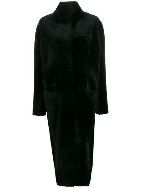 Черное длинное пальто оверсайз с капюшоном Liska