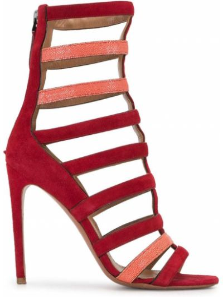 Красные открытые босоножки на молнии с открытым носком Alaïa Pre-owned