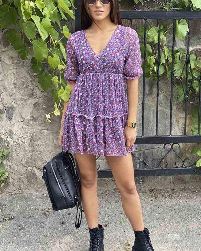 Фиолетовое платье с оборками Clew