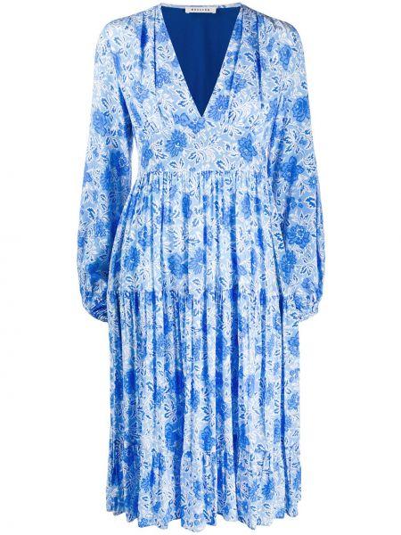 Синее расклешенное шелковое платье миди на молнии Masscob