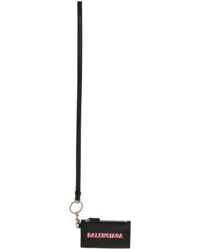 С ремешком черная ключница из натуральной кожи со шлицей Balenciaga