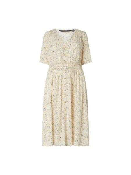 Biała sukienka mini krótki rękaw z wiskozy Vero Moda Curve