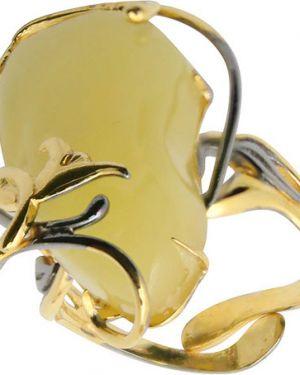 Кольцо из золота из серебра янтарная волна