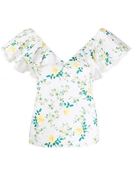 Bluzka z krótkim rękawem w kwiatowe wzory biała Philosophy Di Lorenzo Serafini