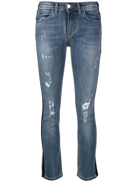 Синие джинсы-скинни на пуговицах с поясом с пайетками Blugirl