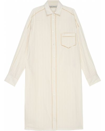 Хлопковое бежевое платье-рубашка свободного кроя Veronique Branquinho