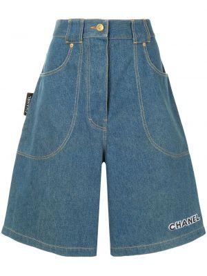 Хлопковые с завышенной талией джинсовые шорты свободного кроя Chanel Pre-owned