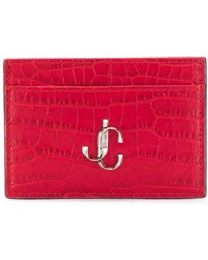 Кожаный кошелек с логотипом серебряный Jimmy Choo