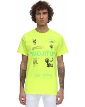 Żółty t-shirt bawełniany z printem Taboo