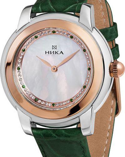 Часы на кожаном ремешке кварцевые с камнями Nika