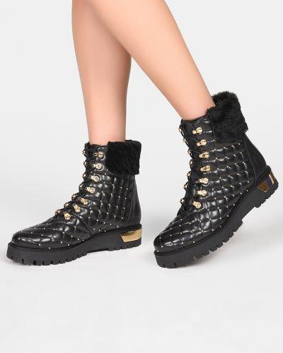 Кожаные сапоги осенние на каблуке L'estrosa