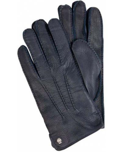 Skórzany niebieski rękawiczki prążkowany z nitami Roeckl
