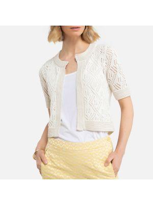 Хлопковый белый свитер круглый Laredoute