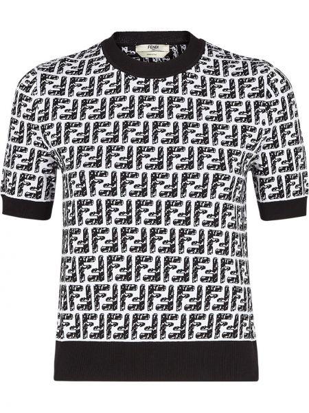 Czarny trykotowy top z logo z wiskozy Fendi