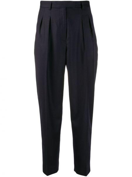 Синие шерстяные укороченные брюки со складками свободного кроя A.p.c.