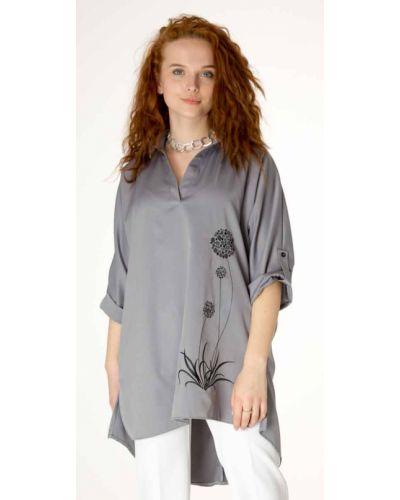 Блузка с вышивкой - серая Innoe
