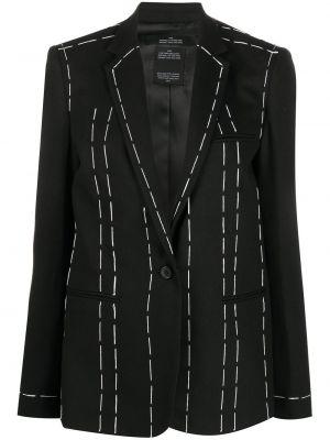 Шерстяной черный классический пиджак с карманами Rokh