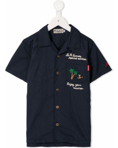 Синяя рубашка на пуговицах Miki House