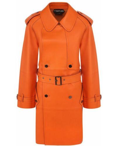 Кожаное пальто с рукавом реглан пальто Tom Ford