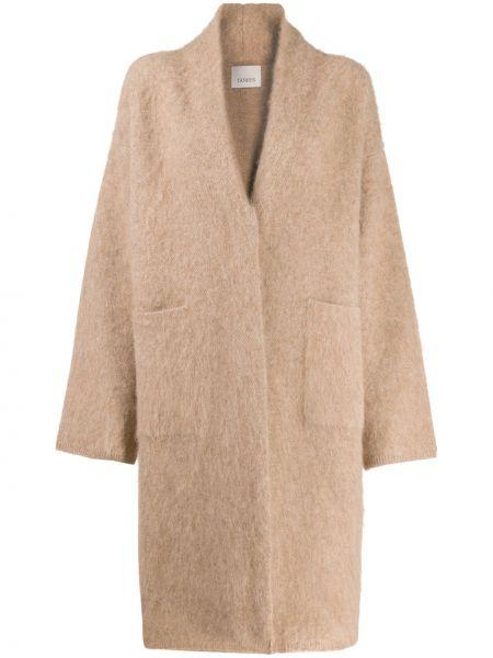 Коралловое шерстяное длинное пальто с накладными карманами Laneus