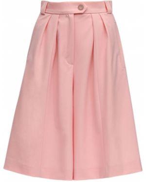 Плиссированный шерстяной розовый костюм с карманами Lesyanebo