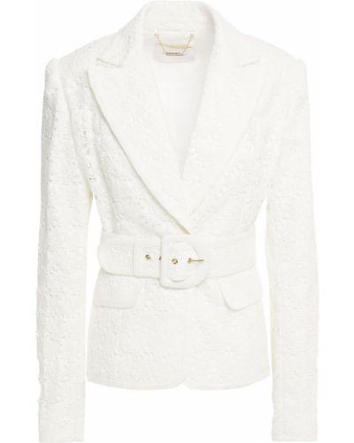 Белый пиджак с поясом на пуговицах Zimmermann
