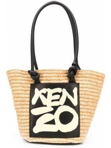 Кожаная сумка соломенная с леопардовым принтом Kenzo