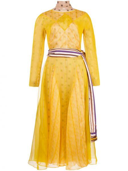 Платье миди с рукавами желтый Fendi