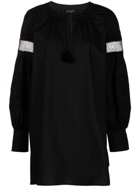 Черная кружевная блузка с вышивкой Roberto Collina