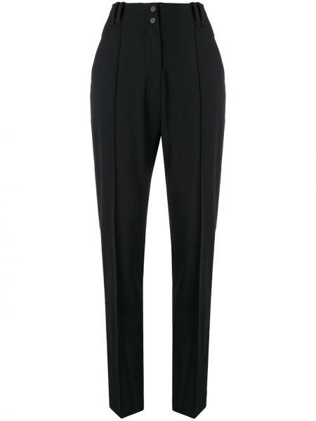 Черные брюки с карманами на пуговицах с высокой посадкой Plein Sud