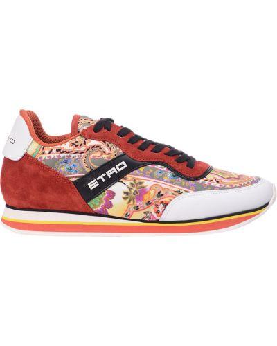 Красные замшевые кроссовки Etro