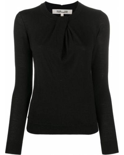 С рукавами шерстяной черный джемпер в рубчик Dvf Diane Von Furstenberg