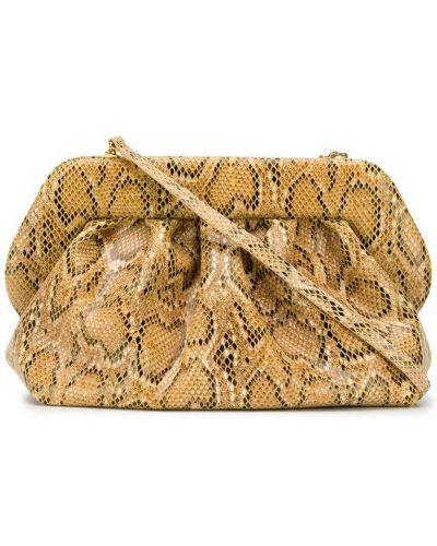 Коричневая кожаная сумка на плечо с тиснением Themoirè